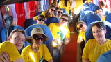 Equipe Unochapecó – Vitória do Jarí, Amapá no ônibus do quartel (dia 09/07 – vespertino) em passeio para conhecer o Marco Zero.