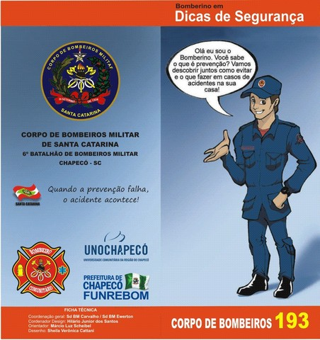 Foram produzidas ilustrações para publicação do Corpo de Bombeiros