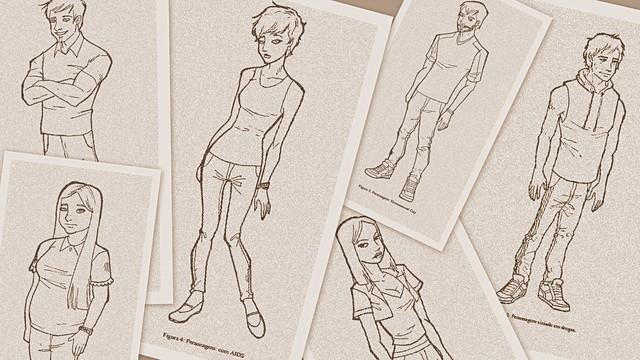 """O desenho dos personagens foi produzido pela futura designer Sheila Verônica Cattani orientada pelo prof. Márcio Luz Scheibel dentro do projeto de pesquisa """"O design aplicado à criação de quadrinhos de entretenimento jovem que discutam questões sociais"""
